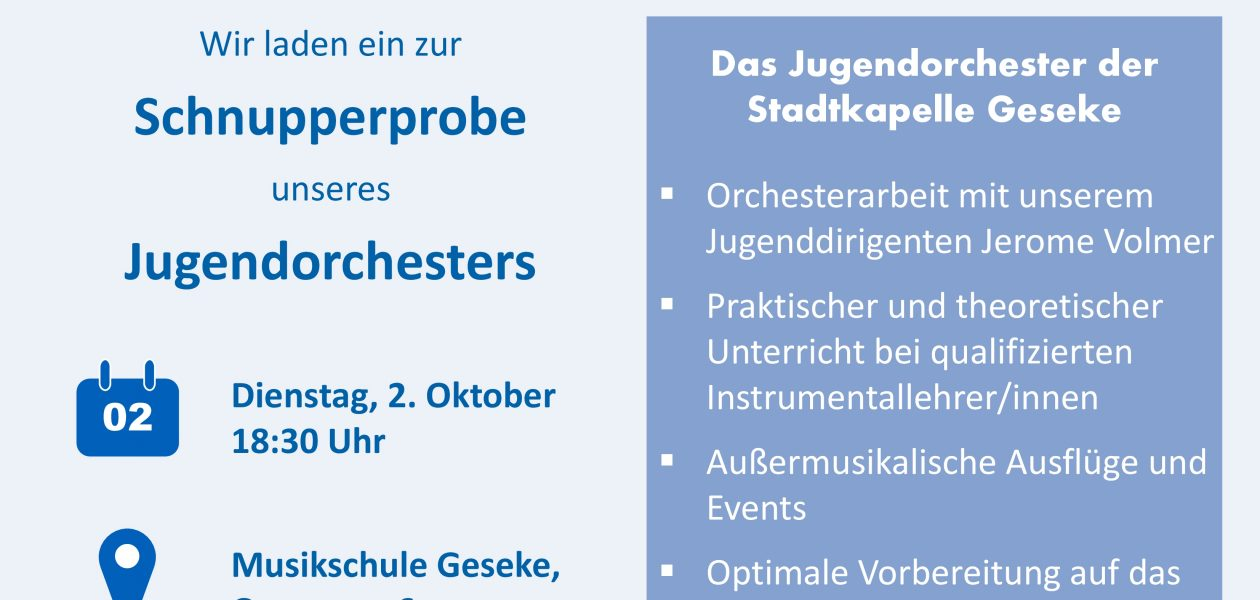 Jugendorchester präsentiert sich auf Hexenstadtfest und lädt zur Schnupperprobe ein